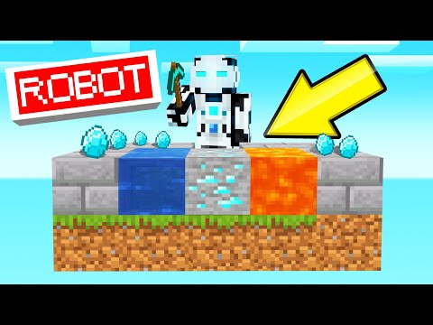 I Built A ROBOT To AUTO-MINE In SKYBLOCK! (Minecraft)