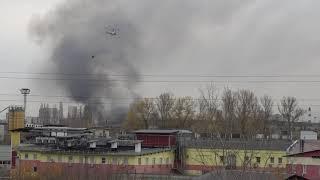 пожар Молодогвардейская 61 Москва 20.10.19 тушение с вертолетов