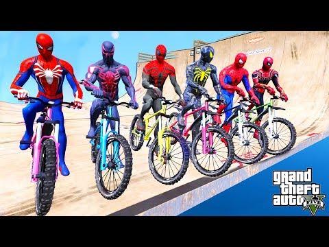 TEAM SPIDER-MAN Super Bicycles Mega Rampa Challenge With Spiderman,Spiderman 2099, Amazing Spiderman