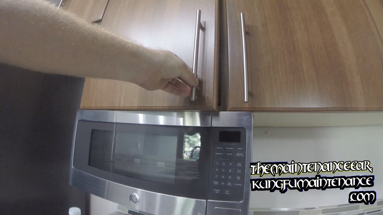 How To Adjust Cabinet Door That Is Hitting Under Cabinet Mount Microwave  Maintenance Repair Video