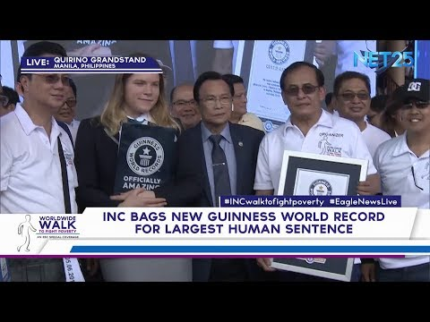 INC bags new Guinness World Record for Largest Human Sentence (HQ)