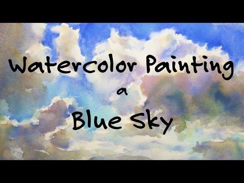 Blue Sky, Watercolor Painting Tutorial