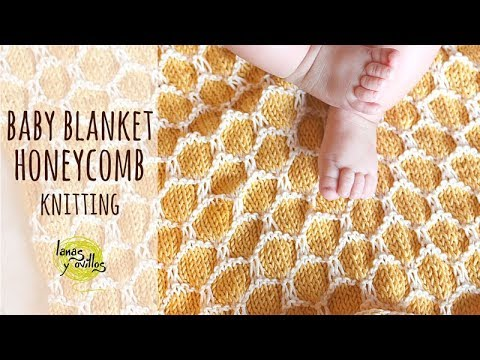 Tutorial Easy Knitting Baby Blanket Two Colors Honeycomb Stitch
