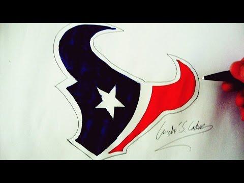 Como Desenhar a logo do Houston Texans - (How to Draw Houston Texans logo) - NFL LOGOS #5