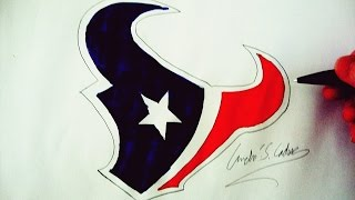 Como Desenhar a logo do Houston Texans - (How to Draw Houston Texans logo) - NFL LOGOS #5