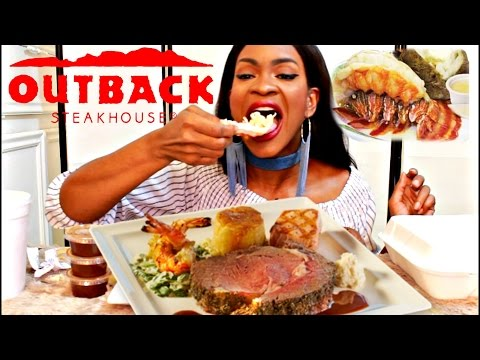 MUKBANG: OUTBACK STEAKHOUSE! STEAK & LOBSTER! YUMMYBITESTV