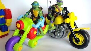 Черепашки Ниндзя и новый мотоцикл. Видео с игрушками для детей