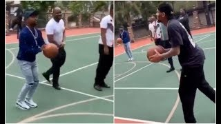 Chris Brown Floyd Mayweather Play Basketball At Drakes House