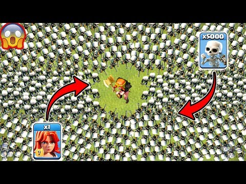 1 Valkyrie vs 5000 Skeletons Clash of Clans Ultimate Battle | Max Valkyrie Attack COC