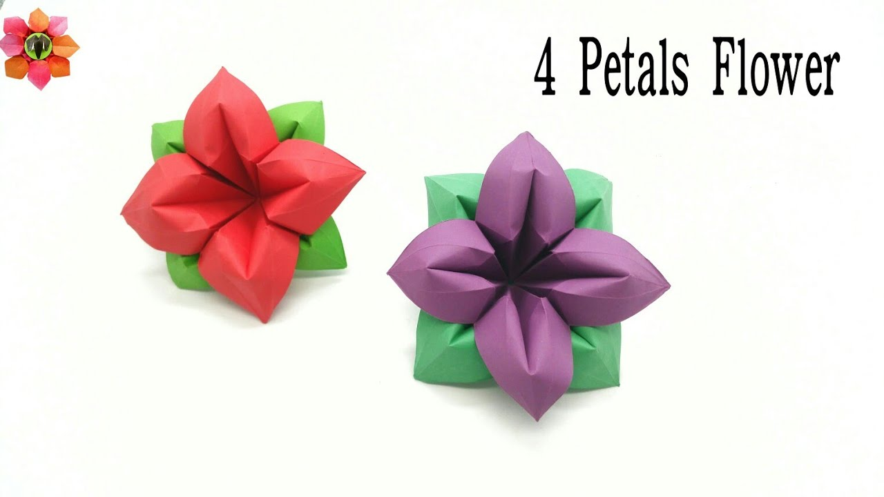 4 petals flower diy origami tutorial 23 youtube 4 petals flower diy origami tutorial 23 mightylinksfo