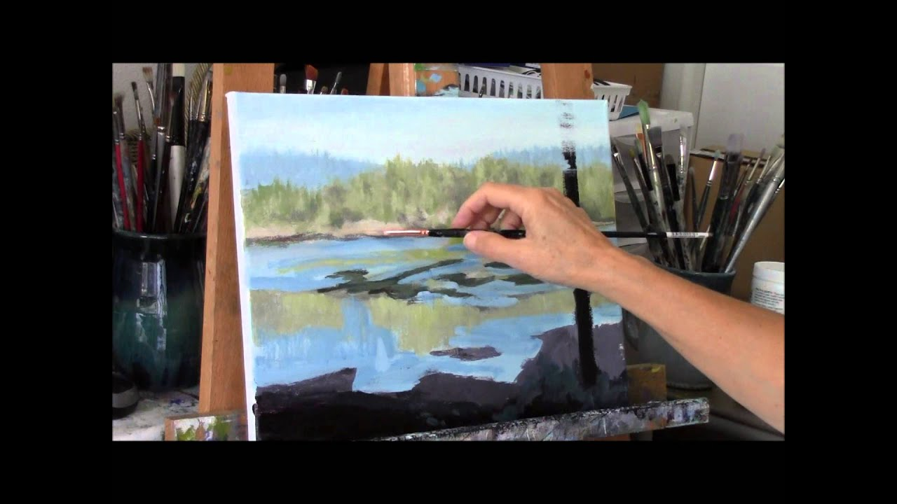 Acrylic River And Trees Landscape Painting Demo