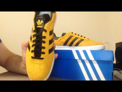Adidas Originals Gazelle Triple White & Black and Yellow unboxing and review