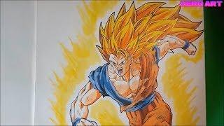 cách vẽ tranh Songoku ssj3 super saiyan siêu đẹp-how to draw