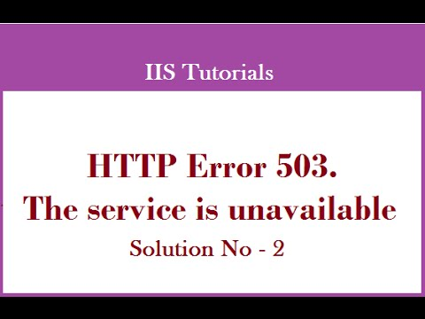 HTTP Error 503. The Service Is Unavailable - Solution 2