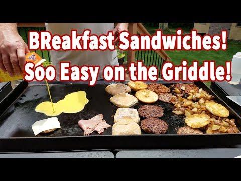 Griddle Breakfast Sandwich!  Done 4 Ways!   DELICIOUS!