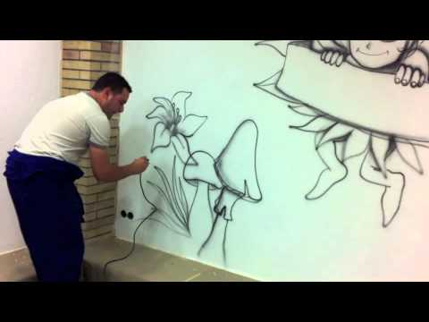 Graffiti pintura mural infantil youtube for Graffitis para habitaciones