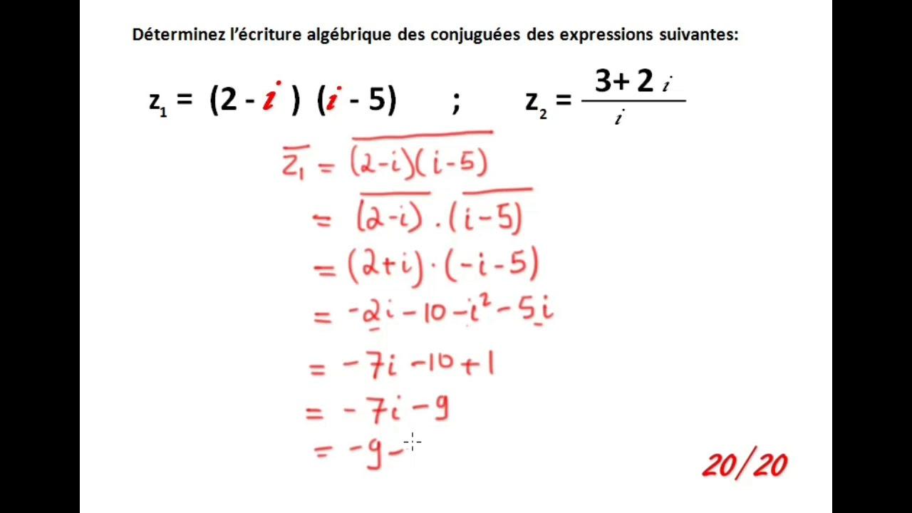 Expression Conjuguee D Un Nombre Complexe Youtube