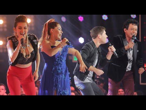 Susan Ochoa, Carlos Burga, Amy Gutiérrez  y Fico Wiese cantaron al inicio de 'Los cuatro finalistas'