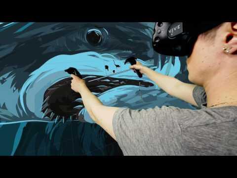 Phelps Vs. Shark: 3D Painting by Wesley Allsbrook   SHARK WEEK