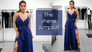 Navy Jumpsuit with front Slits, Iza
