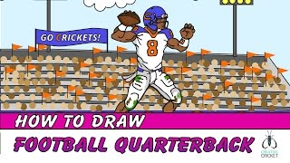How to Draw a Football Player Quarterback - Easy Step by Step Art Lesson
