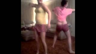 Becca and Megan dancing to give it up