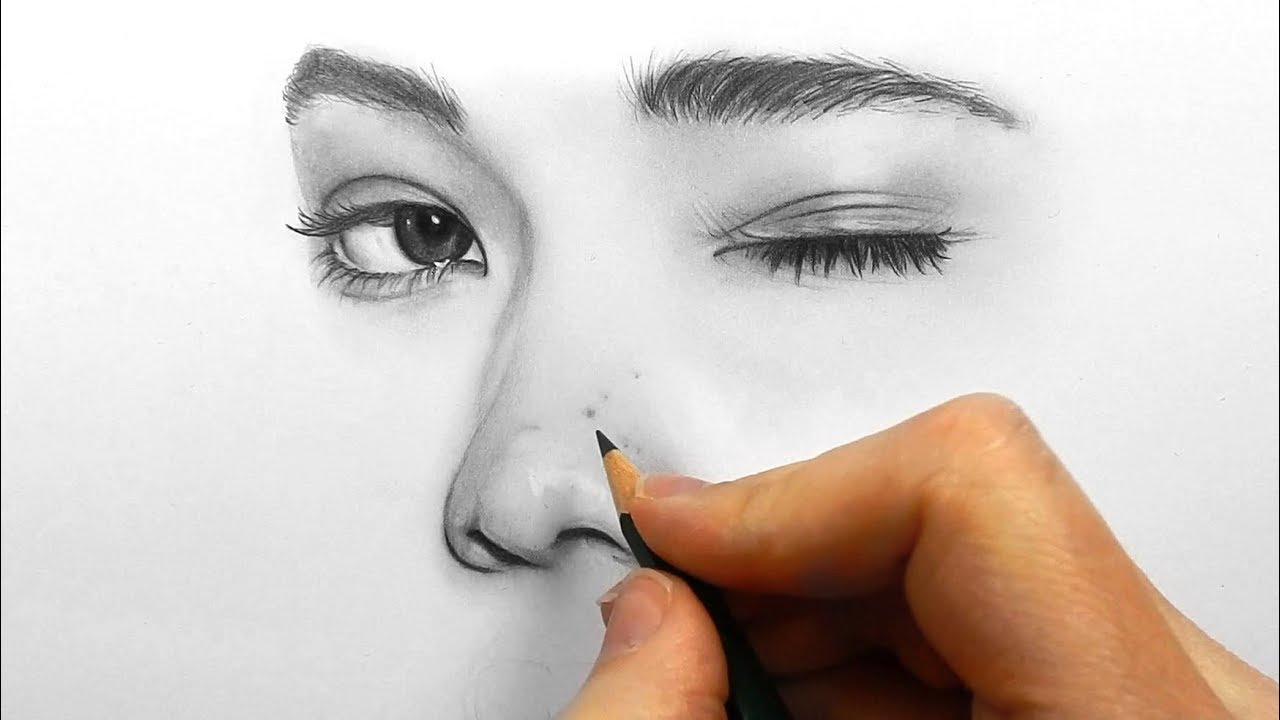 Drawing Shading And Blending A Minimalistic Face With Graphite Pencils Youtube