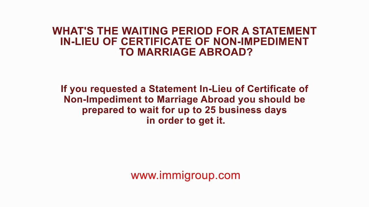 Waiting Period For Statement In Lieu Of Certificate Of Non