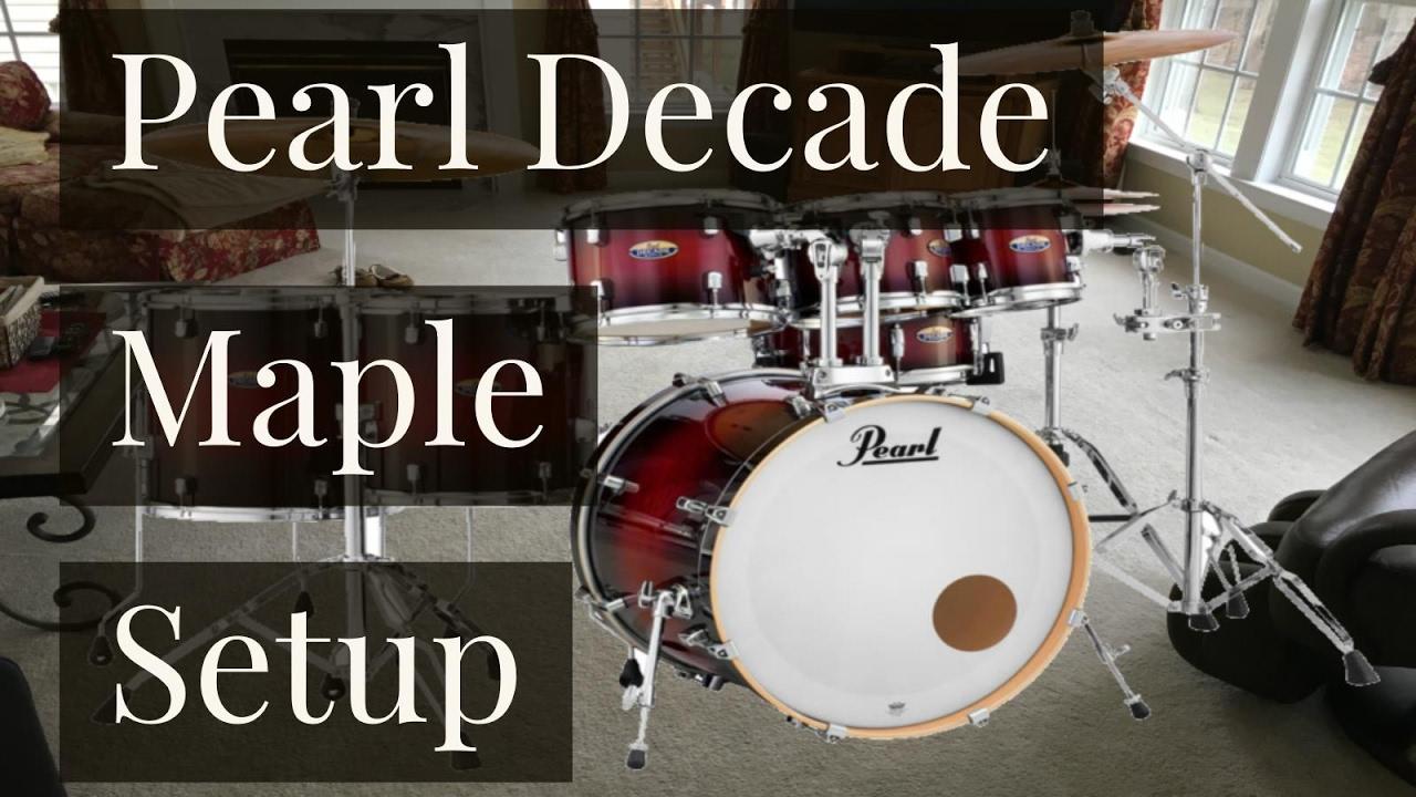 Pearl Decade Maple 7 Piece RedBurst Drum Set Setup