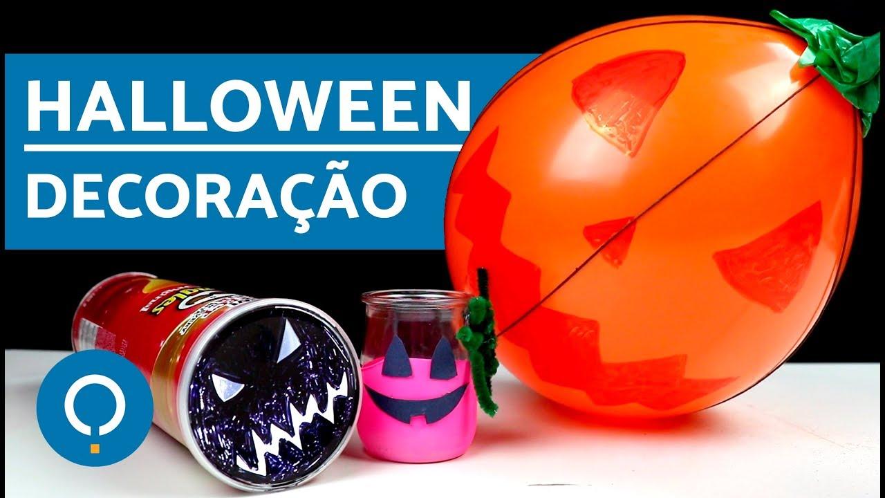 Enfeites para decoraç u00e3o de Halloween Simples! YouTube -> Decoração Simples De Halloween
