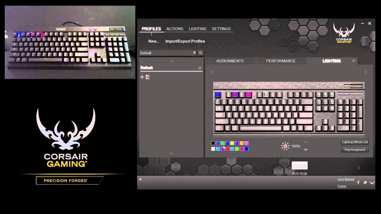 Tutorial: How to Change Back Lighting on the Corsair Gaming K65 RGB, K70  RGB, and K95 RGB Keyboards