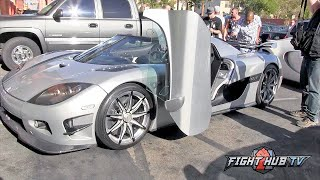 Floyd Mayweather rolls up to workout in 4.8 million dollar Koenigsegg car - Mayweather vs Berto