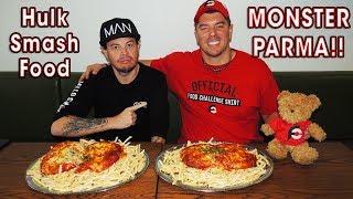 Monster Chicken Parma Challenge w/ HulkSmashFood!!