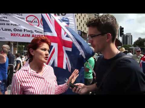 Pauline Hanson Media Interview at the Reclaim Australia Rally (Brisbane)