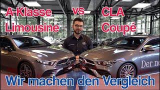 Der ultimative Vergleich: A-Klasse Limousine vs. CLA Coupé in AMG line | Karosserie | Technik | Maße