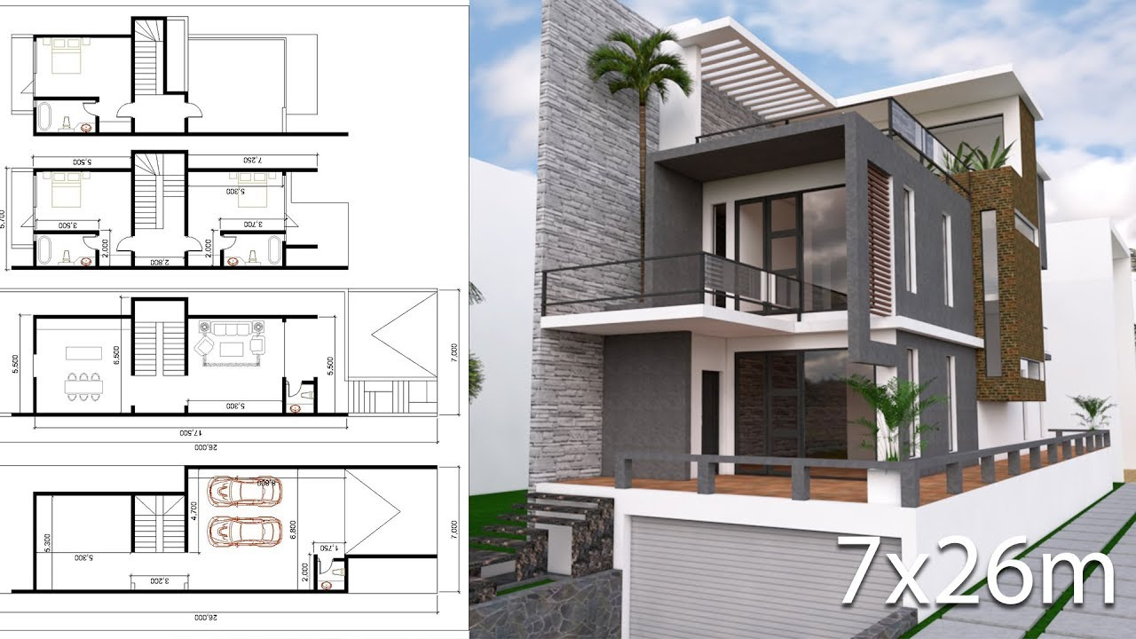 Sketchup Modeling 3 Stories House 5 5x17m Design With Land