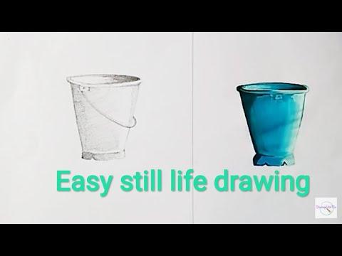 how to draw still life drawing vastu chitra bucket drawing