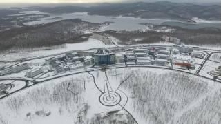 Кампус ДВФУ зимой с высоты птичего полета  Campus FEFU winter