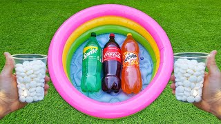 EXPERIMENT COKE , SPRITE , FANTA AND MENTOS IN POOL || SUPER REACTION