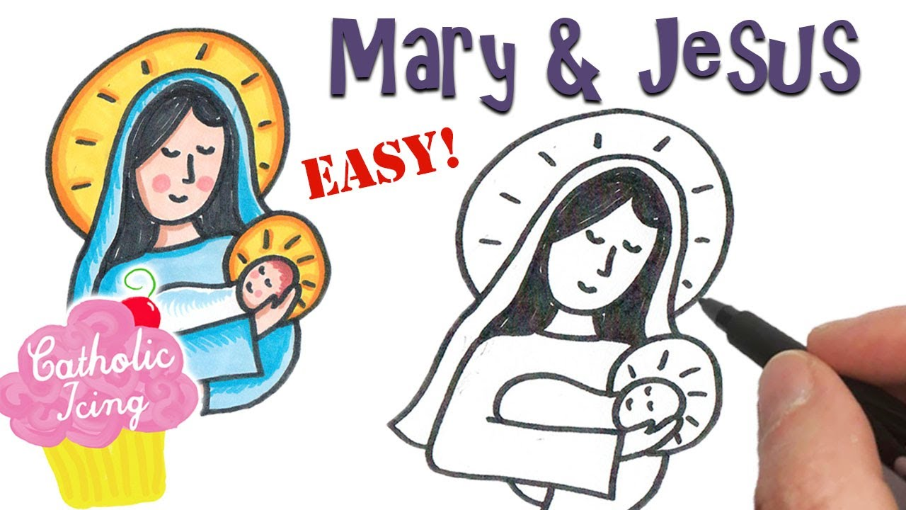 How To Draw Mary And Baby Jesus Easy Easy kids drawing lessons : how to draw mary and baby jesus easy