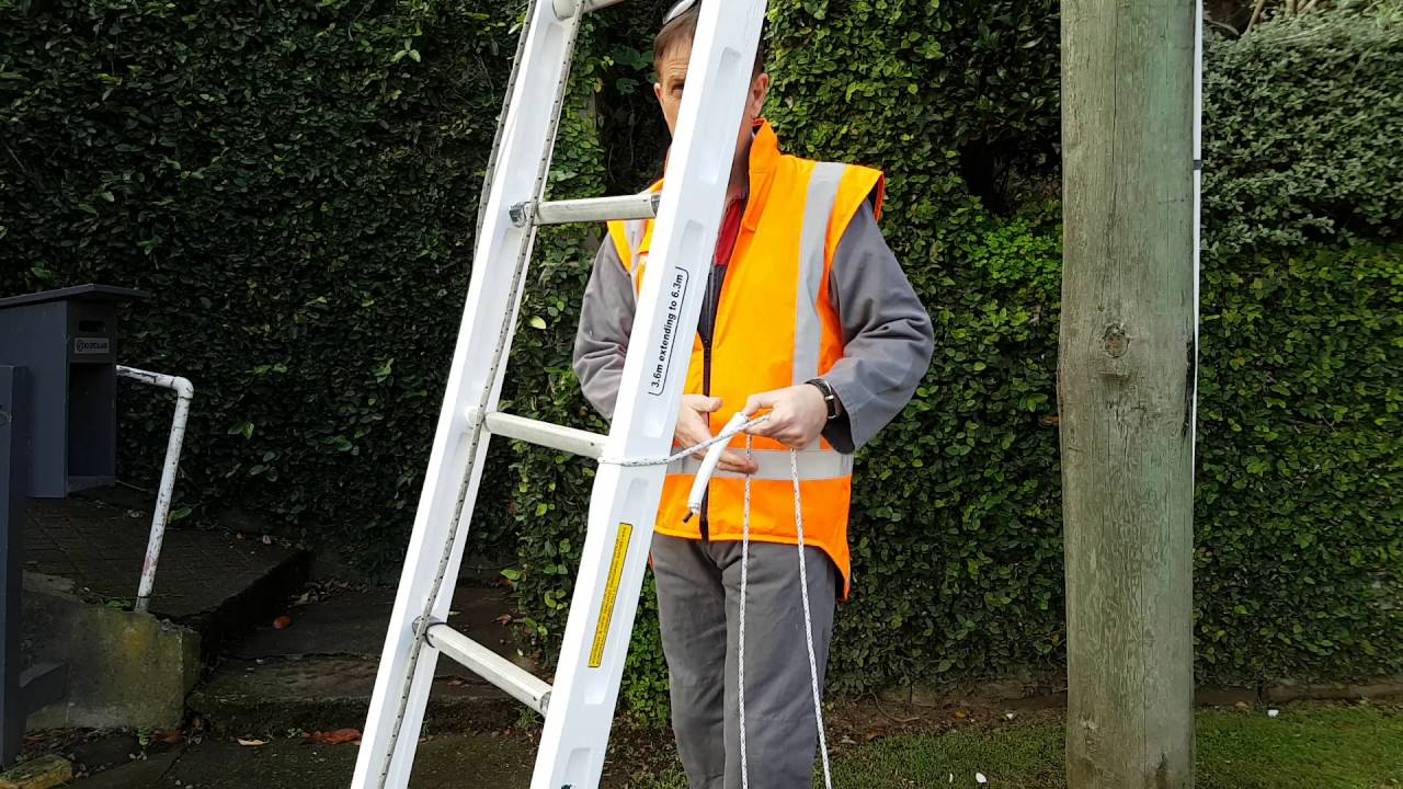 Securing A Ladder At The Base Of A Telephone Pole Youtube
