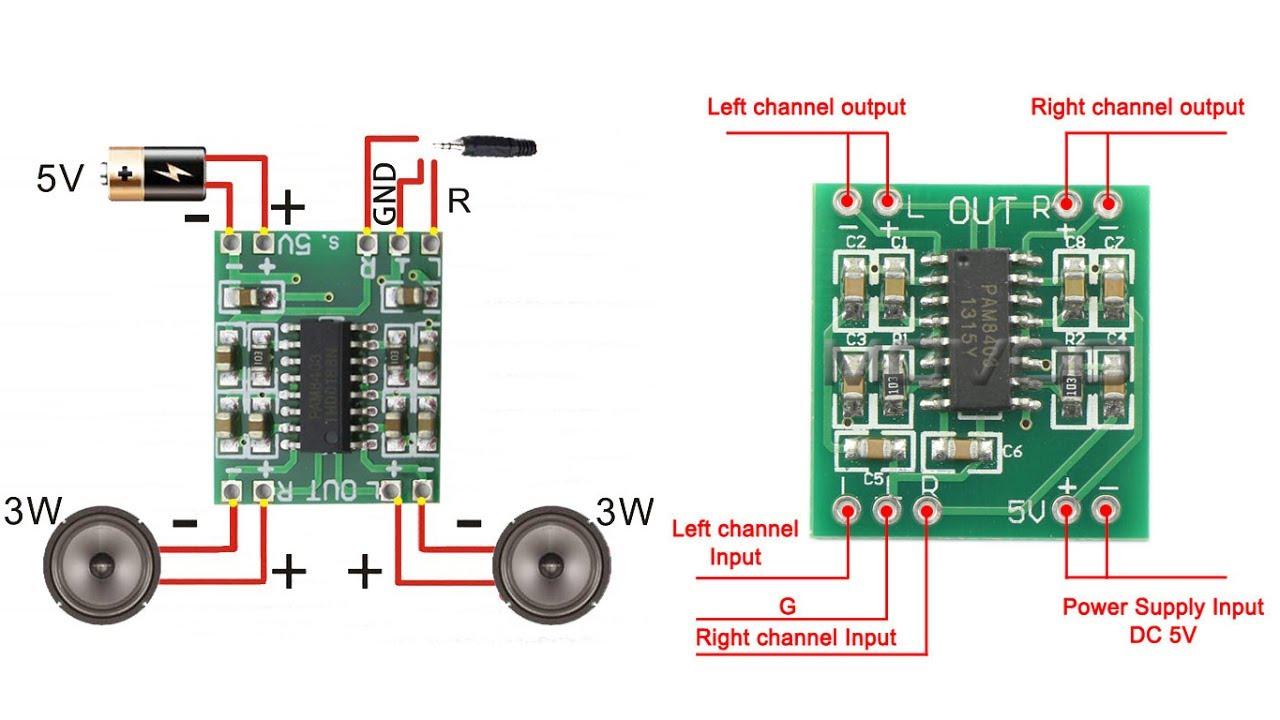 Cara Buat Speaker Yang Ngebass Dengan Daya 5v Kit Pam8403 Youtube Stereo Power Amplifier 4w 8w With Tda2005