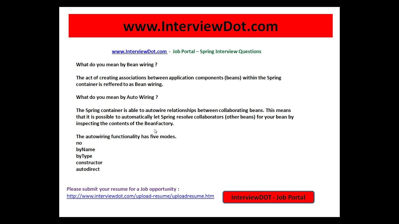 spring what is autowiring interviewdotcom job portal youtube rh youtube com spring bean wiring abstract class spring bean wiring annotation