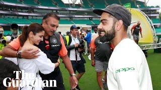 Virat Kohli and Ravi Shastri celebrate India's first ever Test series win in Australia