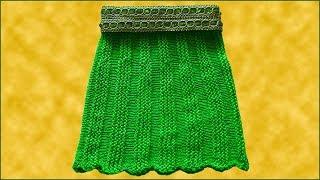 Вязание юбки. Юбка спицами. Поперечное вязание. Вязание спицами. (knitting skirt)