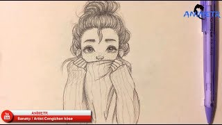 """Anime Yüz Çizimi 9 / Drawing Anime Girl """"Kız Çizimi"""""""
