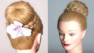 Прическа с плетением: Пучок с косой. Bun hairstyle for long hair