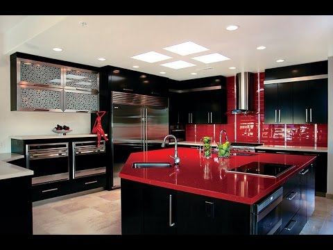 Cocinas modernas de color rojo con isla americanas con