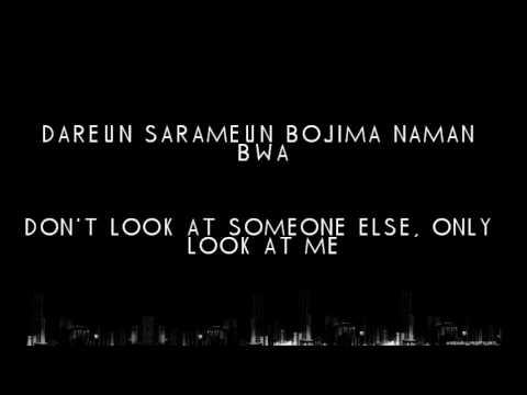 100% - Want U Back [ Romanization + English ] lyrics on screen