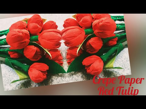 DIY/ Crepe Paper Red Tulip Making/ Easy Flower Making/By FAIZY VIBES